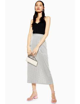 Monochrome Spot Pocket Midi Skirt by Topshop
