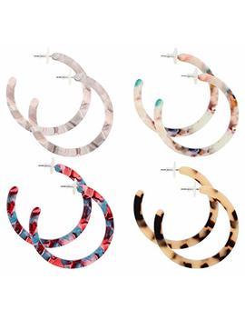 Finrezio 4 Pairs Mottled Acrylic Hoop Earrings For Women Circle Hoop Stud Earrings Set Bohemian Statement Earrings Fashion Jewelry by Finrezio