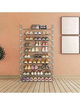 Blissun Shoe Racks Space Saving Non Woven Fabric Shoe Storage Organizer Cabinet Tower (10 Tiers, Grey) by Blissun