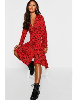 petite-red-dalmatian-print-button-midi-dress by boohoo