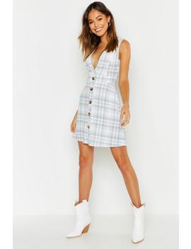 v-neck-button-through-check-pinafore-dress by boohoo