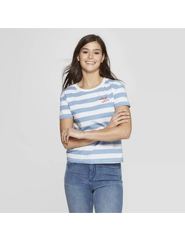 Women's Striped Short Sleeve Crewneck Stay Chic T Shirt   Fifth Sun (Juniors')   White/Blue by Shirt