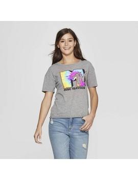 Women's Mtv Tie Dye Short Sleeve Crewneck T Shirt (Juniors')   Gray by Shirt (Juniors')