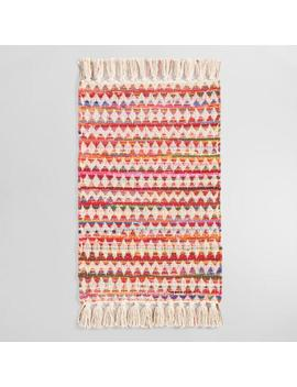 Red Multicolor Diamond And Zigzag Chindi Area Rug by World Market