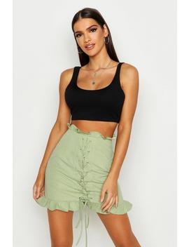 Lace Up Front Ruffle Mini Skirt by Boohoo