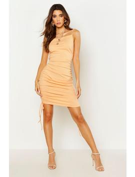 ruched-rib-bodycon-dress by boohoo