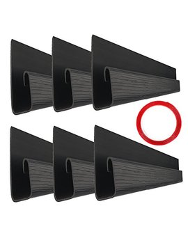 "J Channel Cable Raceway   70.8"" Desk Cord Management System   Wire Cover Kit With Mounting Tape   Wood Grain 6 Count Cable Organizer For Office, Home, Kitchen (11.8"" Each, Black) by Yecaye"
