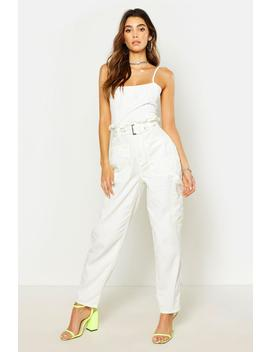 top-stitch-detail-denim-cargo-pant by boohoo
