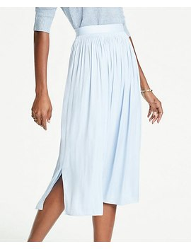Petite Shirred Midi Skirt by Ann Taylor