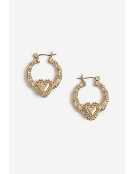 Textured Heart Small Hoop Earrings by Topshop