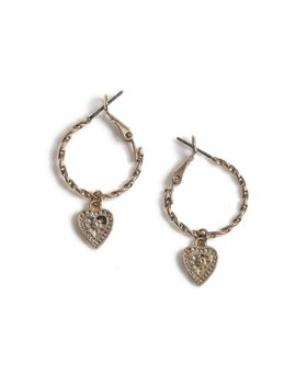 Heart Drop Hoop Earrings by Topshop