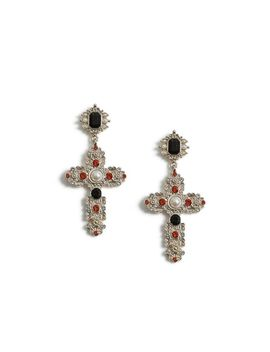 Crystal Drop Cross Earrings by Topshop