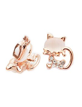 Clip On Earrings Cute Cat Dangle Earrings White Created Eye Stone Gold Plated Popular Gift by Menoa