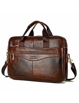 mens-handmade-leather-briefcase-laptop-bag-messenger-shoulder-bag-(brown) by ma-fang