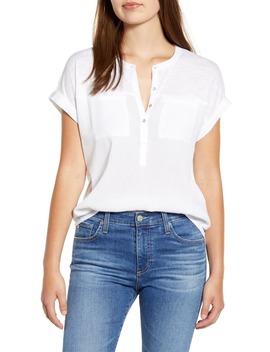 mix-media-short-sleeve-henley-top by lucky-brand