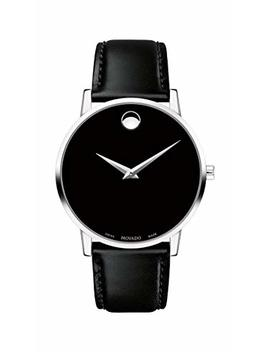 Movado Men's Museum Stainless Steel Watch With Concave Dot Museum Dial, Silver/Black Strap (607269) by Movado