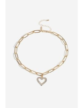 **Crystal Heart Choker by Topshop