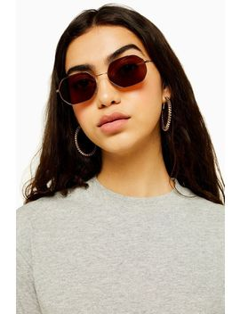 Katy Brown And Khaki Heptagon Sunglasses by Topshop