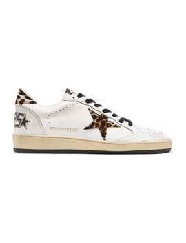 Ball Star Leopard Print Calf Hair And Leather Sneakers by Golden Goose
