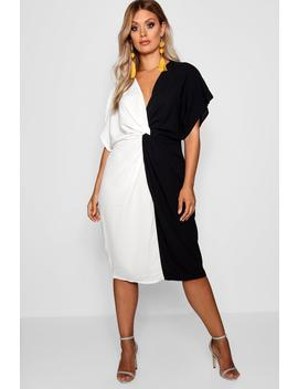 Plus Plunge Colour Block Twist Front Midi Dress by Boohoo
