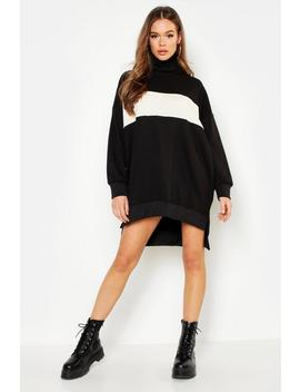 Roll Neck Oversized Panel Sweat Dress by Boohoo