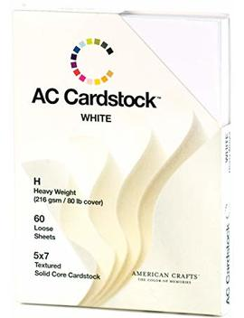 5 X 7 Inch White Ac Cardstock Pack By American Crafts | Includes 60 Sheets Of Heavy Weight, Textured White Cardstock by American Crafts
