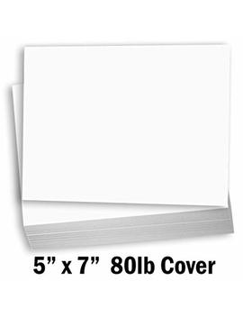 """Hamilco White Cardstock Thick Paper   Blank Index Flash Note & Post Cards   Greeting Invitations Stationary 5 X 7"""" Heavy Weight 80 Lb Card Stock For Printer   100 Pack by Hamilco"""