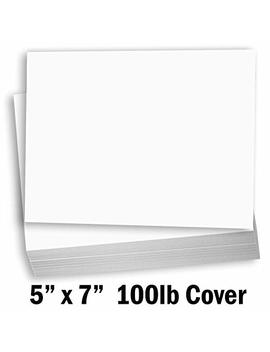 """Hamilco White Cardstock Thick Paper   Blank Index Flash Note & Post Cards   Greeting Invitations Stationary 5 X 7"""" Heavy Weight 100 Lb Card Stock For Printer – 100 Pack by Hamilco"""