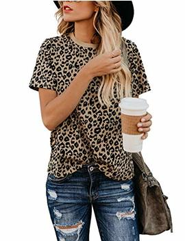 Blooming Jelly Womens Leopard Print Tops Short Sleeve Round Neck Casual T Shirts Tees by Blooming Jelly
