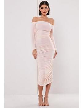 Blush Bardot Slinky Ruched Bodycon Midaxi Dress by Missguided