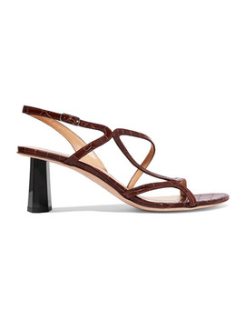 Brigette Croc Effect Leather Slingback Sandals by By Far
