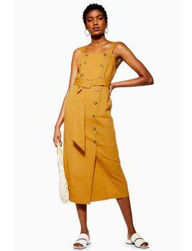Linen Blend Belted Pinafore Dress by Topshop