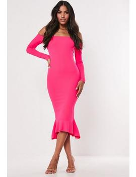 Hot Pink Bardot Fishtail Bodycon Midi Dress by Missguided
