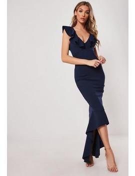 Navy Frill Strap Fishtail Bodycon Midi Dress by Missguided