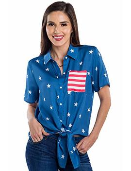 Tipsy Elves Women's Usa Patriotic Tie Shirt   Cute American Flag Patriotic Hawaiian Shirt For Ladies by Tipsy Elves