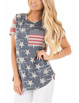 Womens American Flag Shirt Short Sleeve Usa 4th Of July Flag Top Loose T Shirts by Barlver