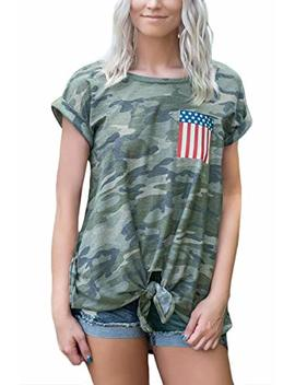For G And Pl Women's July 4th American Flag Short Sleeve Tie Front T Shirt by For G And Pl