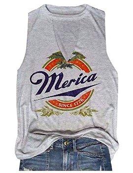 Hdlte Women Merica Since 1776 Tank Tops Sleeveless Racerback T Shirt Vest by Hdlte