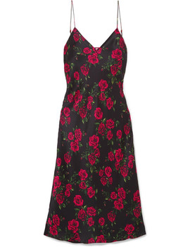 The Raven Floral Print Silk Charmeuse Dress by Cami Nyc