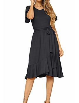 Levaca Women's Plain Casual Flowy Short Sleeve Midi Dress With Belt by Levaca