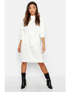 Roll Neck Chunky Belted Midi Dress by Boohoo