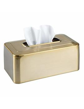 M Design Modern Metal Tissue Box Cover For Disposable Paper Facial Tissues, Rectangular Holder For Storage On Bathroom Vanity, Countertop, Bedroom Dresser, Night Stand, Desk, Table   Soft Brass by M Design