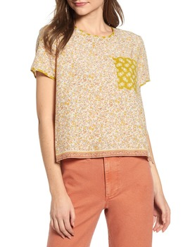 Jaipur Floral Button Back Pocket Tee by Madewell