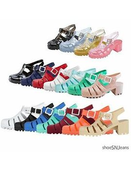 New Women Summer Retro Buckle Slingback Jelly Rubber Sandals Wedge Heel Shoes by Unbranded