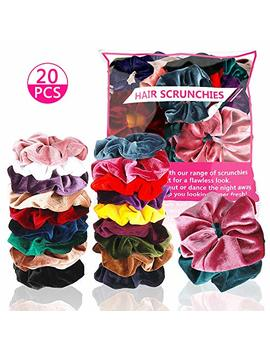 Hingwah 20 Pcs Hair Scrunchies,Premium Velvet Elastic Hair Bands Bow Scrunchie Hair Ties,Soft Ponytail Holder Scrunchy Hair Accessories For Women Girls 18 Colors In Regular Size/2 Color In Large Size by Magicsky