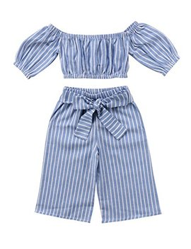Mainesaka Toddler Girl Stripe Off Shoulder Tube Top + Pant Set Outfit by Mainesaka