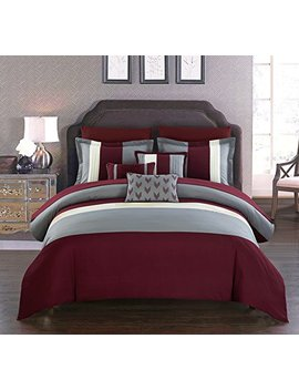 Chic Home Ayelet 8 Piece Comforter Set Color Block Ruffled Bag Bedding Decorative Pillows Shams Included, Twin Burgundy by Chic Home