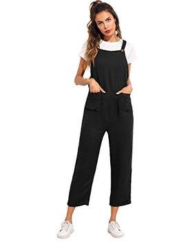 Verdusa Women's Sleeveless Straps Pockets Plaid Culotte Jumpsuit Overalls by Verdusa