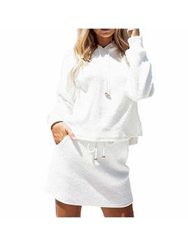 Women Autumn Hoodie Sweater Skirt Set, Sttech1 Long Sleeve Solid Color Hooded Pocket Sweatshirt+Skirt Two Pieces Set by Sttech1 Women Clothes
