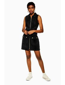 Black Horn Button Denim Collar Dress by Topshop